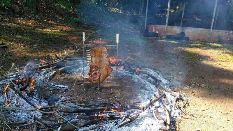 Grelha fogo de chão